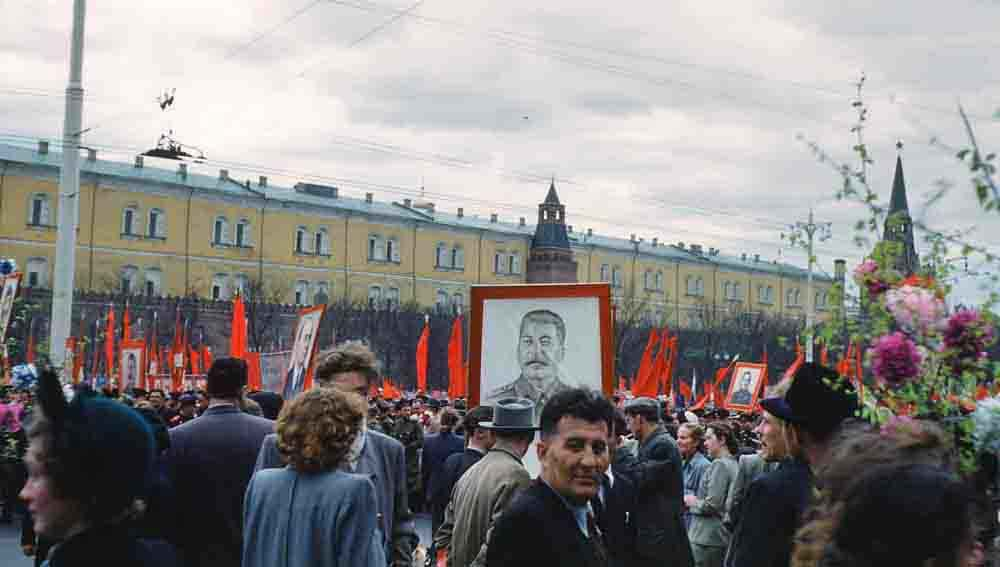 Among the crowd during a parade on Manezhnaya ploshchad, Moscow.