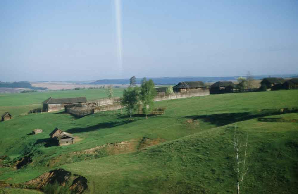 Весенние поля, снятые из окна поезда. Белая полоса – результат засветки при проявке пленки.