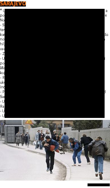 SARAJASASEVO * U optužnici se u pojedinim tačkama navodi Sarajevo kao grad, a ponegdje tužilaštvo izdvaja zasebno (tadašnje) sarajevske općine Novi Grad Sarajevo, Ilidža i Pale. - Sveobuhvatni udruženi zločinački poduhvat s ciljem širenja terora među civilnim stanovništvom Sarajeva provođenjem kampanje snajperskog djelovanja i granatiranja od aprila 1992. do novembra 1995. U optužnici se navodi da je ubijeno i ranjeno na hiljade civila oba spola i svih uzrasta, uključujući djecu i starije osobe. - Zločin teroriziranja i protivpravnih napada na civile i ubistva. - U dogovoru s drugima počinio, planirao, podsticao, naredio i/ili pomagao i podržavao istrebljivanje i ubistvo bosanskih Muslimana i bosanskih Hrvata, stanovnika Sarajeva, i/ili osoba koje nisu aktivno učestvovale u neprijateljstvima. - Ratka Mladića Haško tužilaštvo pojedinačno tereti za smrt ukupno 136 i ranjavanje 377 ljudi u Sarajevu u snajperskim incidentima, bombardiranju i granatiranju. - Progon na političkoj, rasnoj i vjerskoj osnovi (Općina Novi Grad Sarajevo). - Ubistvo više muškaraca odvedenih iz cisterni kod kasarne u Rajlovcu. - Uništenje džamije u Ahatovićima (Općina Novi Grad Sarajevo). - Uzimanje osoblja UN-a za taoce.  Izvor: Reuters