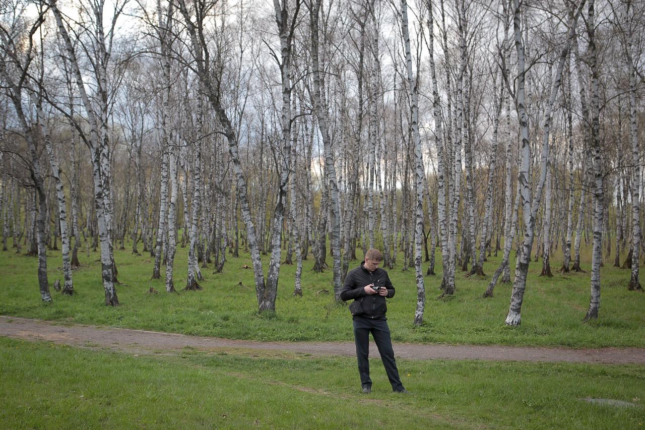 Чалавек назірае за шэсьцем «Чарнобыльскі шлях»